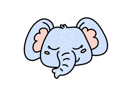 Cute elephant hand drawn vector character icon