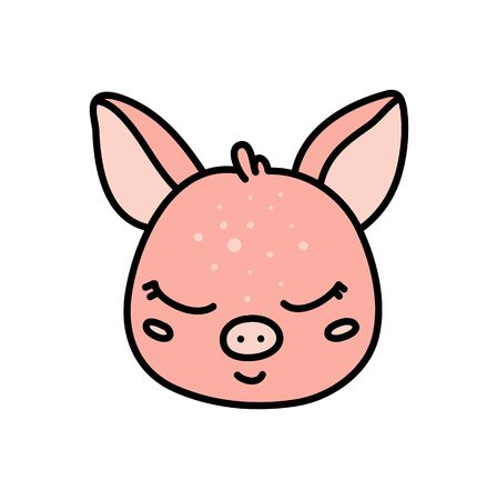 Cute baby pig hand drawn vector character icon Illustration