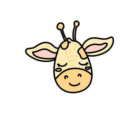 Cute giraffe hand drawn vector character icon