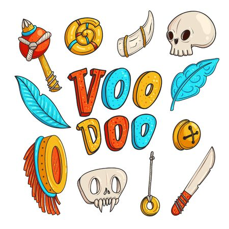 Voodoo hand drawn vector color illustrations set. Doodle ritual and occult attributes. Shamanism, witchcraft cartoon cliparts. Magical objects with lettering. Tribal culture isolated design elements