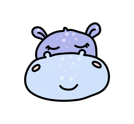 Cute hippopotamus hand drawn vector character icon