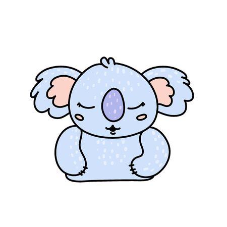 Cute koala bear hand drawn vector character