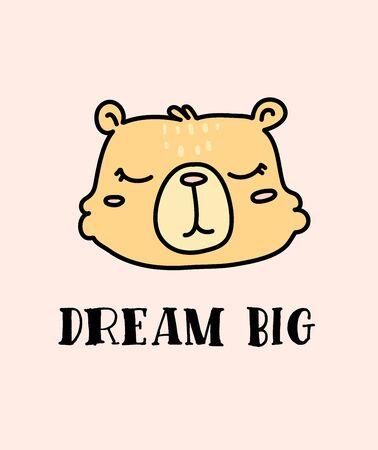Cute baby bear hand drawn vector character
