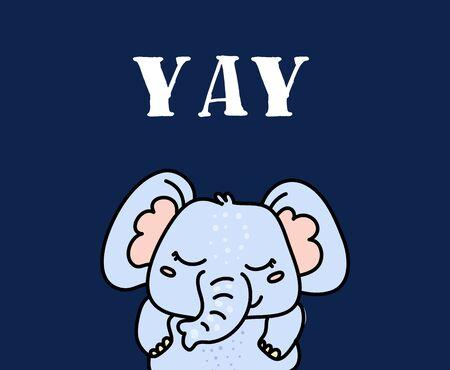 Cute baby elephant hand drawn vector character Иллюстрация
