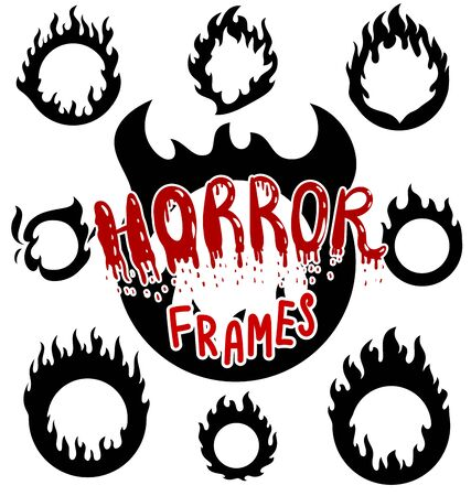Rings of fire flames black vector silhouettes set Иллюстрация