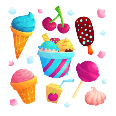 Delicious sweets cartoon stickers set