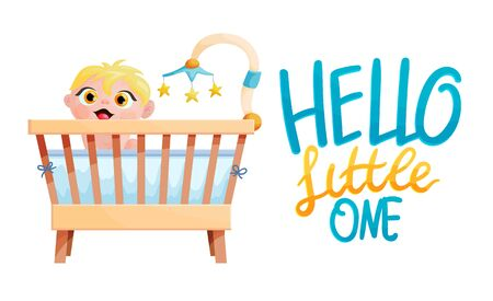 Cute little baby in crib flat vector illustration with typography. Hello little one lettering. Child in wooden cradle cartoon drawing with typography. Infant in bed design element. Newborn care
