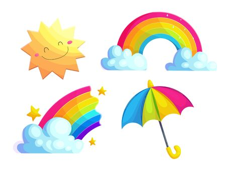 Rainbows, sun and umbrella cartoon vector stickers set. Natural phenomena icon collection. Weather forecast drawings for kids. Cute seasonal items isolated on white. Scrapbook patches Иллюстрация