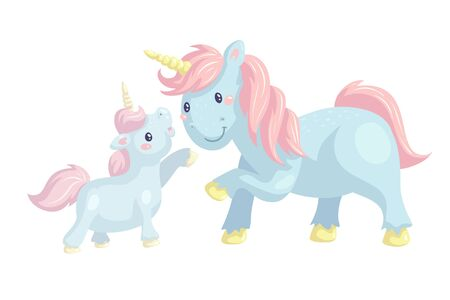 Kawaii unicorns cartoon vector illustration. Cute magical creatures on white background. Fantasy mother and baby ponies greeting card design element. Mythology horses in pastel colors