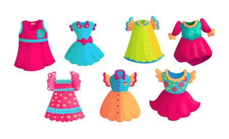 Colorful dresses cartoon vector stickers set. Bright girlish apparel icon collection. Fashionable clothes drawings for kids. Cute apparel items isolated on white. Scrapbook patches