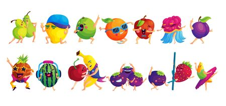 Happy dancing fruits cartoon stickers set. Emoji characters having fun icon collection. Organic plants with cute faces vector illustrations. Vegetarian food patches. Summer disco party Иллюстрация