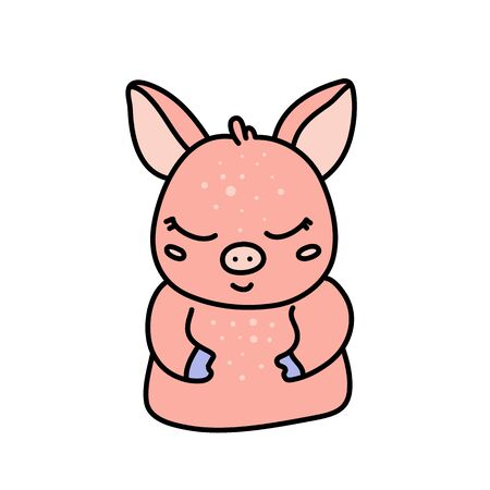 Cute baby pig hand drawn character Illustration