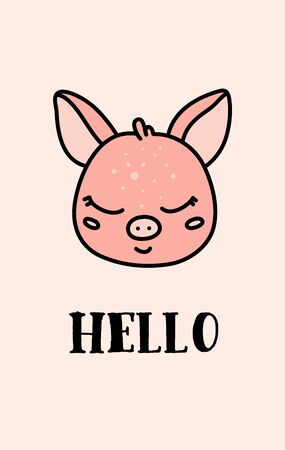 Cute baby swine hand drawn vector character Illustration