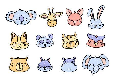 Cute baby wild animals cartoon characters set Foto de archivo - 133533862
