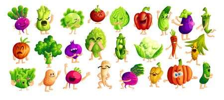 Funny vegetables cartoon stickers set. Kawaii emoji, veggies icon collection. Organic plants with cute faces vector characters. Vegan food scrapbook patches. Healthy nutrition concept Standard-Bild - 133058384