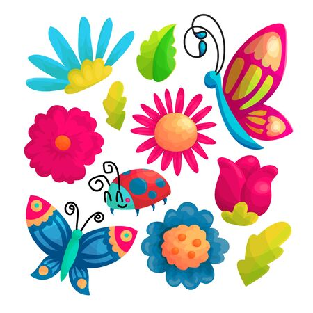 Set di adesivi vettoriali per cartoni animati di farfalle e fiori. Bellissimi fiori e simpatici insetti collezione di icone. Pacchetto di disegni di natura kawaii per bambini. Patch estive colorate. Elemento di design per album Vettoriali