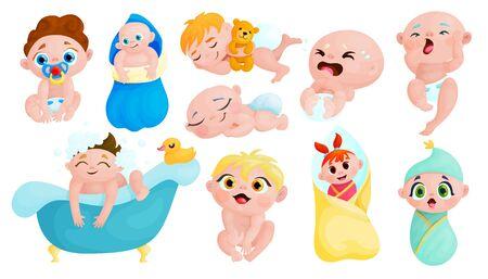 Conjunto de pegatinas de dibujos animados de bebés lindos. Colección de iconos de niños kawaii. Niños pequeños felices y llorando personajes vectoriales. Los bebés sanos aislaron parches del libro de recuerdos. Cuidado y estilo de vida del recién nacido