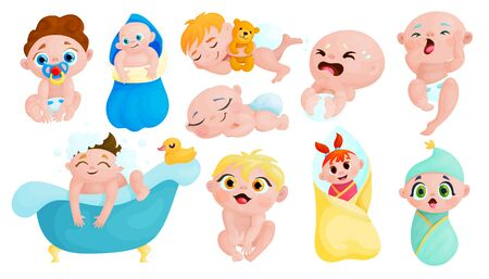Cute babies cartoon stickers set. Kawaii children icon collection. Happy and crying little kids vector characters. Healthy infants isolated scrapbook patches. Newborn care and lifestyle