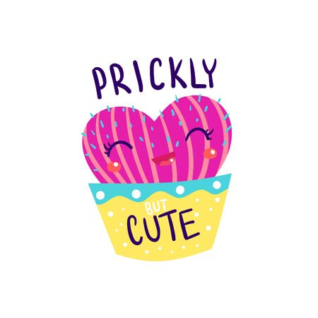 Prickly but cute heart shaped cactus. Cute cacti vector illustration