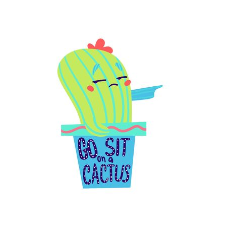 Go sit on cactus. Cute cacti vector illustration 向量圖像