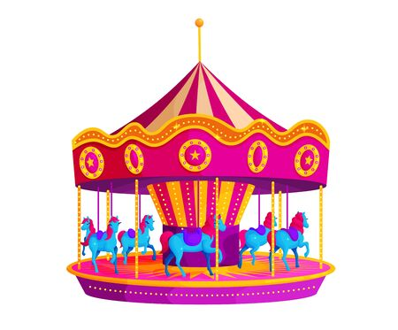 Circus carousel with horses flat vector illustration. Pink horseabout. Amusement park sticker. Rotating carnival ride. Theme fair attraction. Entertainment, event, outdoor activity Ilustración de vector