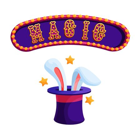 Magic trick with rabbit flat vector illustration. Focus with magician hat and bunny ears. Circus show. Amusement park. Magical perfomance. Entertainment, sorcery. Illusion attributes