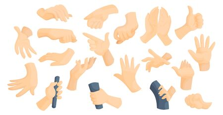 Sign language idea flat vector illustration set. Collection of hand gestures and movements. Gesturing, moves sticker pack.