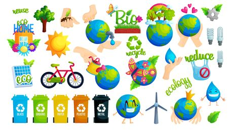Ecology protection idea flat vector illustration set. Collection of ecological stickers. Reuse, recycle, reduce. Waste sorting. Eco friendly lifestyle. Sustainable energy. Save planet