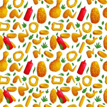 Fast food meat and sauce seamless pattern. Junk meal texture. Fried wings and nuggets vector background. Tasty unhealthy snacks with ketchup.