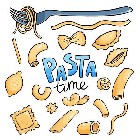 Raw italian pasta set. Penne, fusilli and rigatoni dry macaroni isolated collection.
