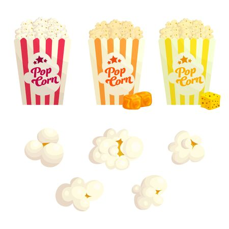 Popcorn with different flavours flat vector illustration set. Popped corn with cheese and caramel. Junk food in striped boxes.