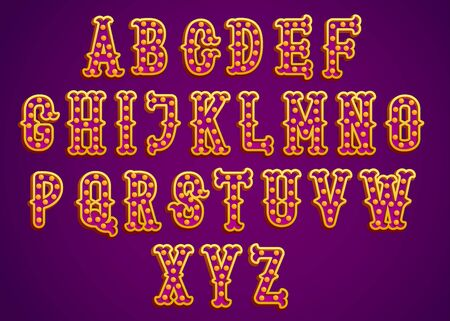 Vintage circus golden shiny letters vector typeset. Retro alphabet with shining bulbs. Magic font. Glowing type with lightbulbs.
