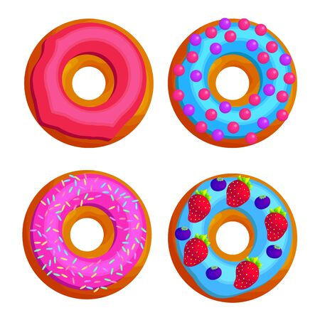 Sweet round doughnuts flat vector illustration set. Colorful tasty donuts stickers. Collection of glazed pastry with sprinkle. Unhealthy food. Delicious meal. Confectionary, dessert