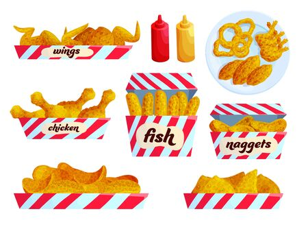 Fried fast food flat vector illustration set. Collection of roasted meal with sauces. Chicken, fish. Wings, nuggets. Ketchup and mustard in bottles. Unhealthy snacks stickers. Take away order