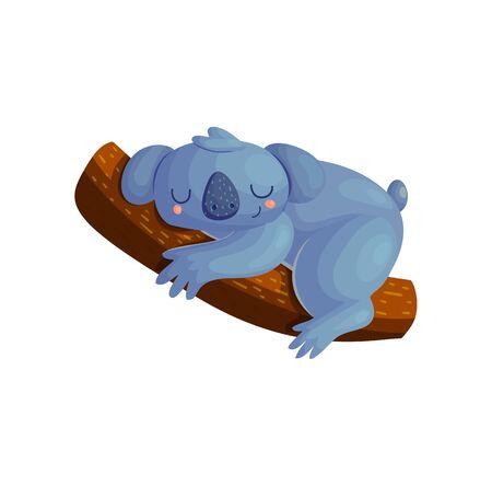 Cute koala character sleeping on tree branch. Nursery baby nap time animal kids illustration. Funny bear sleeping poster