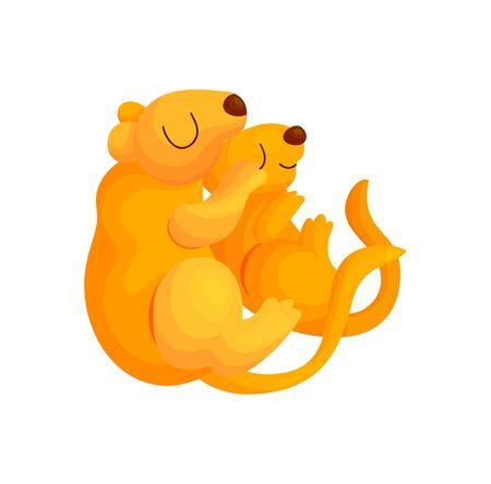 Cute gopher couple hug and sleep. Baby animal vector illustration. Happy kids character relax print Ilustração