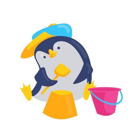 Cute baby penguin play with sand cartoon character vector illustration. Ilustração