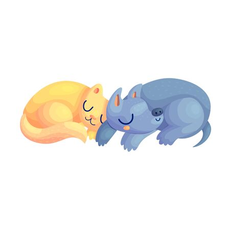 Cute cat and dog cartoon characters asleep together. Pet friends nursery baby nap vector illustration. Kitty and puppy children room poster. Ilustração