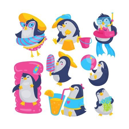 Cute baby penguin summer vacation cartoon collection. Nursery pool party characters set. Snorkel, sunbathing and sand play concept design. Ilustração