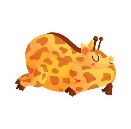 Sleeping giraffe in cartoon style isolated on white background. Cute wild baby animal dream vector illustration. Sweet little poster