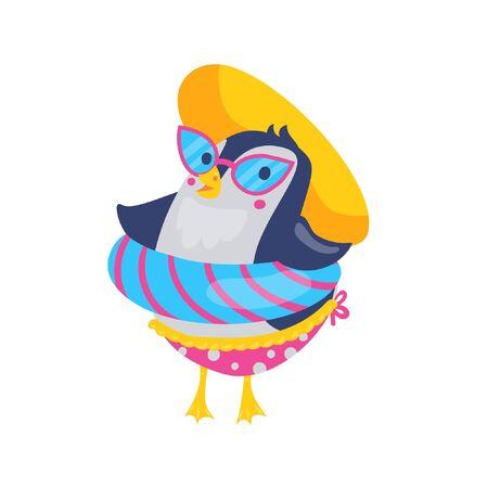 Pool float cute baby penguin cartoon character. Beach resort with swim ring, sunglasses and hut. Summer holidays vector illustration Ilustração