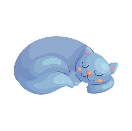 Cute cartoon cat sleeping. Lazy kitten animal vector illustration. Baby nursery nap poster design. Ilustração