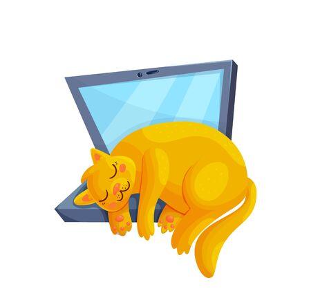 Cute red sleeping cat on laptop. Cartoon kitty character asleep. Freelancer life concept vector illustration.