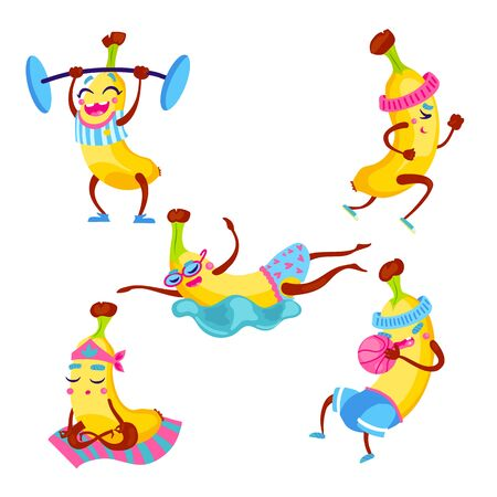 Fitness workout funny banana character collection. Summer fruit humor vector illustration set. Gym training healthy food poster design.