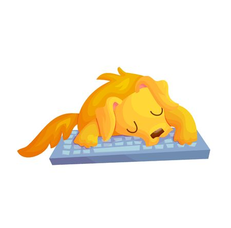 Cute cartoon golden retriver dog sleeping on keyboard. Freelancer life concept vector illustration. Napping time poster design.