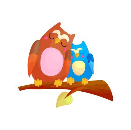 Cute cartoon couple of owls sleeping on branch. Family and love character concept vector illustration. Happy nursery birds asleep.
