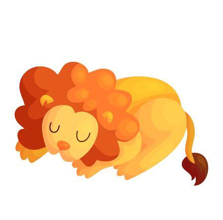 Cute sleeping vector lion. Jungle baby animal isolated illustration. Friendly african mammal. Nursery asleep design.