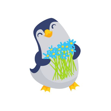 Cartoon penguin with flowers bouquet cute vector illustration isolated on white. Child character with spring floral arrangement. Easter design decoration Ilustração