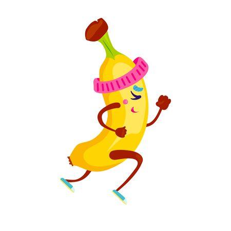 Running funny banana character design. Cute cartoon yellow summer fruit run vector illustration. Excited man jogging fitness poster.