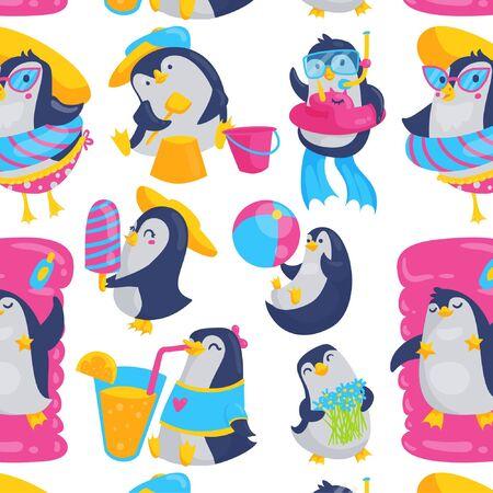Tropical beach cute penguin seamless pattern. Baby bird summer sea activity vector background. Nursery textile design.